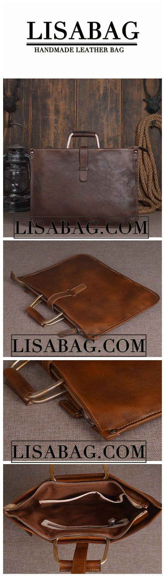 Handmade Vintage Leather Briefcase Men's Business Handbag Laptop Bag in Dark Brown 14131