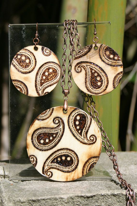 Woodburned Paisley Necklace/Earring Set by scattabraincreations, $25.00
