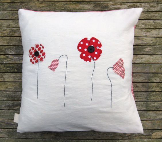 Red poppy cushion cover free motion applique on by tailorbirds, $32.00