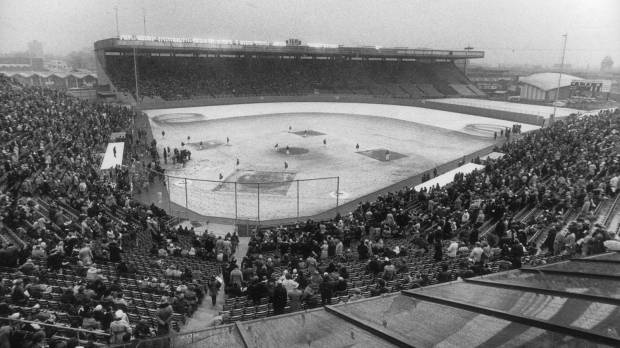 Toronto Blue Jays' first game, April 7, 1977, in the snow at Exhibition Stadium