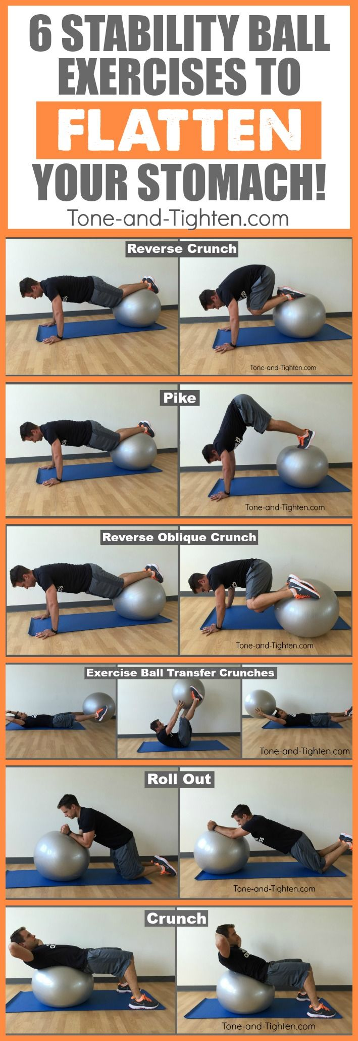 best exercise ball ab exercises stomach tone tighten pinterest