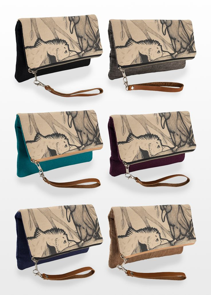 """""""The Pirate and the Princess"""" Illustrated Clutch Bag, available in 6 different colors. #bird #seagull #raven #crow #art #illustration #products"""