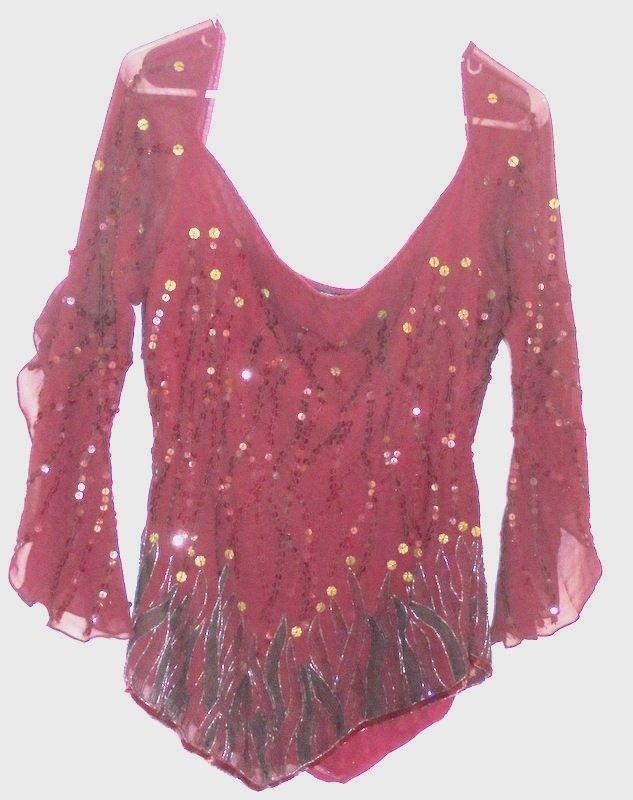 BOSTON PROPER Sparkling Sequins on sheer silk Rayon lining Layered Sleeves RED #BostonProper #DanceTopShirtSheer #Casual