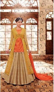 Orange Color Jute Silk Zari Work Achkan Style Designer Lehenga Kameez | FH561283623 Follow us @heenastyle #lehenga #sangeet #outfit #Lehengakameez #party #celebration #dholak #fashion #happiness #style #ethnicwear #traditional #wedding #onlineshopping #lehengasuit #lehengadress #onlinestore #heenastyle #salwarkameez #dresses #suits #churidarkameez #indiafashion #onlinefashion #ethinicwear