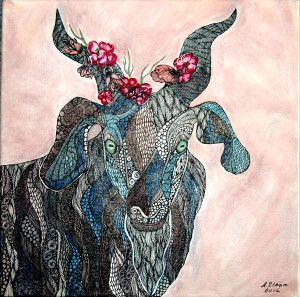 ,,Goat,, Anna Strøm  2016 original painting , zentangle, size 40 cm X 40 cm canvas, acrylic, black ink 280 Euro www.design-of-norway.no
