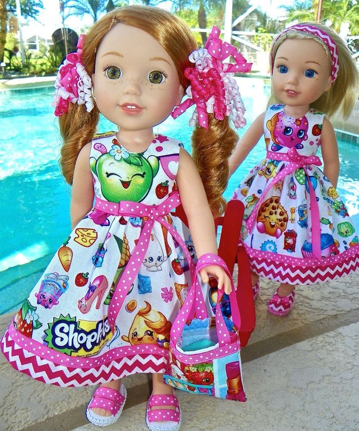 """8pc Wellie Wishers """"Shopkins"""" shopping dress clothes for 14"""" American girl dolls"""