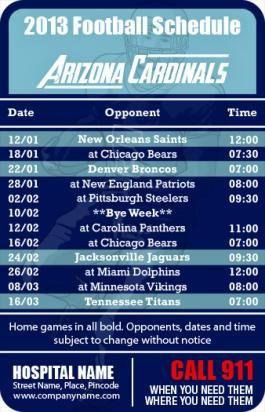 3.5x2.25 in One Team Arizona Cardinals Football Schedule  Emergency Services  Magnets 20 mil