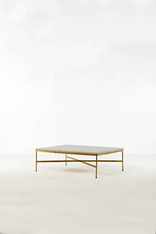 Paul McCobb; Marble and Brass Coffee Table, 1960s.