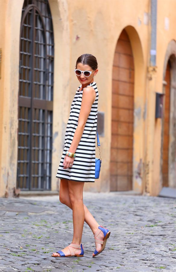 Striped dress and sandals