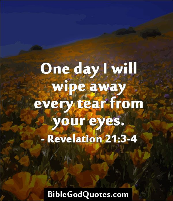 One day I will wipe away every tear from your eyes. - Revelation 21:3-4