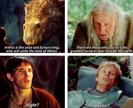 Merlin first episode to last episode. Haha, they're both so skeptical >> and it breaks your heart
