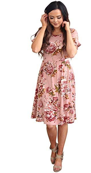 f64bb5126ae Mikarose Nessa Modest Dresses Knee length teen women s floral Bridesmaid  Dress with sleeves at Amazon Women s Clothing store