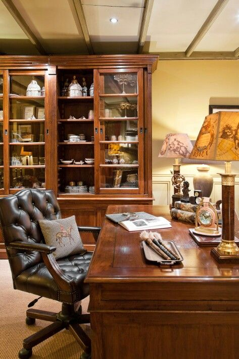 Bureau office english style classic interior english for Interieur in english