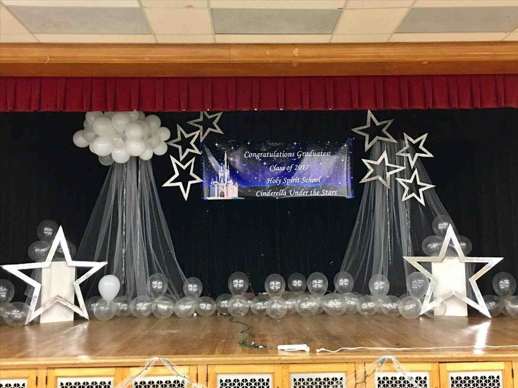 Stage decoration with flowers for graduation