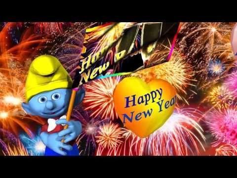 Ein gutes neues Jahr 2018, Wünsche Grüße vom Schlumpf zu Neujahr ...