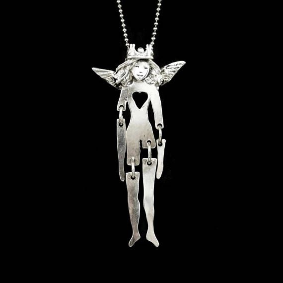 Sterling Angel Necklace Unusual Jewelry Gift For Women