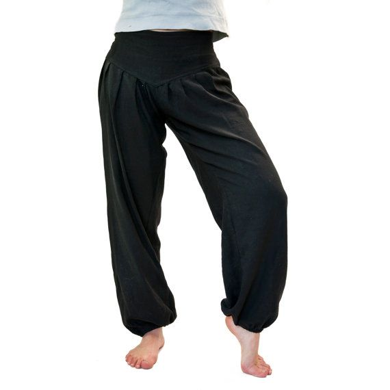 Harem trousers S M black cotton harem pants by DistelfinkDesigns