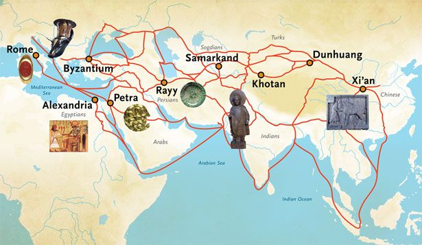 The Silk Road was a vast system of trade routes that connected China with tas far as Rome.