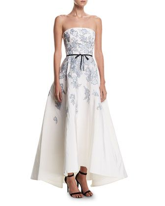 02fd8c74ce7 Strapless+Embroidered+Belted+High-Low+Evening+Gown+by+Monique+Lhuillier+at+ Neiman+Marcus.