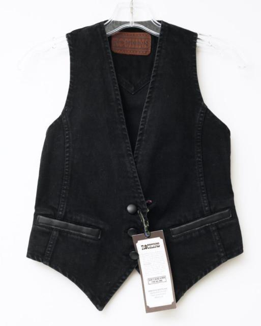 ROCKINS Womens Washed Black Denim Jean Waistcoat Vest UK 8/US 4 NEW NWT