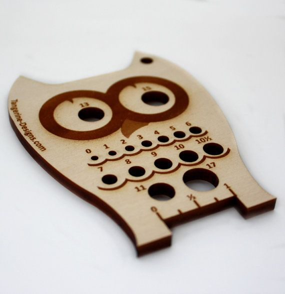 Look closely I have a metric and US version. This is the US Version!!!!    The Owl Knitting Needle Gauge was designed by me and laser cut from 3/16