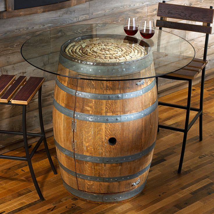 Reclaimed Rustic Wine Barrel Pub Table With Round Clear Glass Top Tempered Also Added Two Armless Chair Brown Wooden Plank Seater And Backrest As Well As Coffee Table For Sale Plus Glass Coffee Table of Creative And Low Cost Recycle Wood Whiskey Barrel Coffee Table Designs from Living Room Ideas