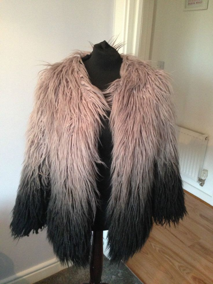 Gorgeous Topshop Mongolian Faux Fur Dip Dye Coat UK 10 Bloggers Fave!