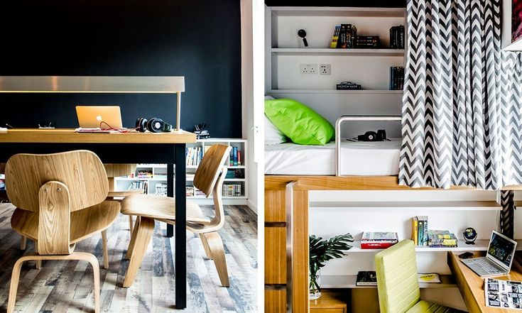 Спальные места приподняты, а под ними расположены рабочие столы и шкафы.  (спальня,дизайн спальни,интерьер спальни,домашний офис,офис,мастерская,квартиры,апартаменты,мебель,интерьер,дизайн интерьера,современный,минимализм) .