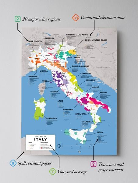 High quality, detailed, and accurate map of major wine appellations in Italy. Available as a poster/print. Designed by experts for display or education. Vivid high contrast color coded reference GIS wine map.