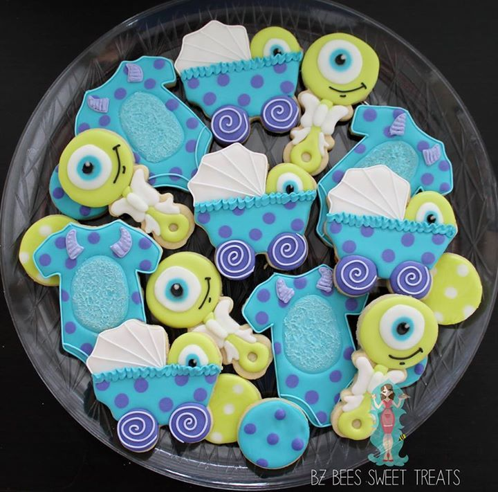Monsters Inc baby shower cookies
