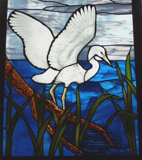 Heron Leaded Stained Glass Window