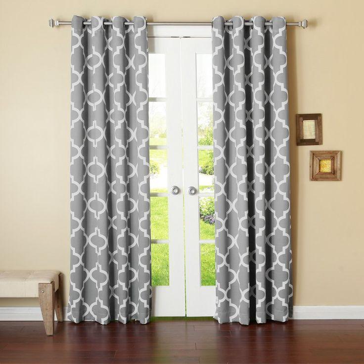 Best Home Fashion Moroccan Room Darkening Curtain Panel Grey - BG_34_MOROCCAN-108-GREY