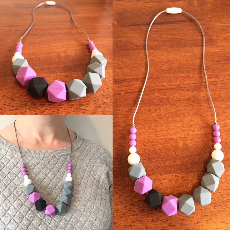 Silicone Teething Necklace- Fussy Little Fox Hexagon Teething Necklace in grey, purple, black and white on silver nylon cord with white safety catch. $27 + Free Shipping within Australia. Visit Fussy Little Fox on Facebook to see more or email fussylittlefox@gmail.com to purchase