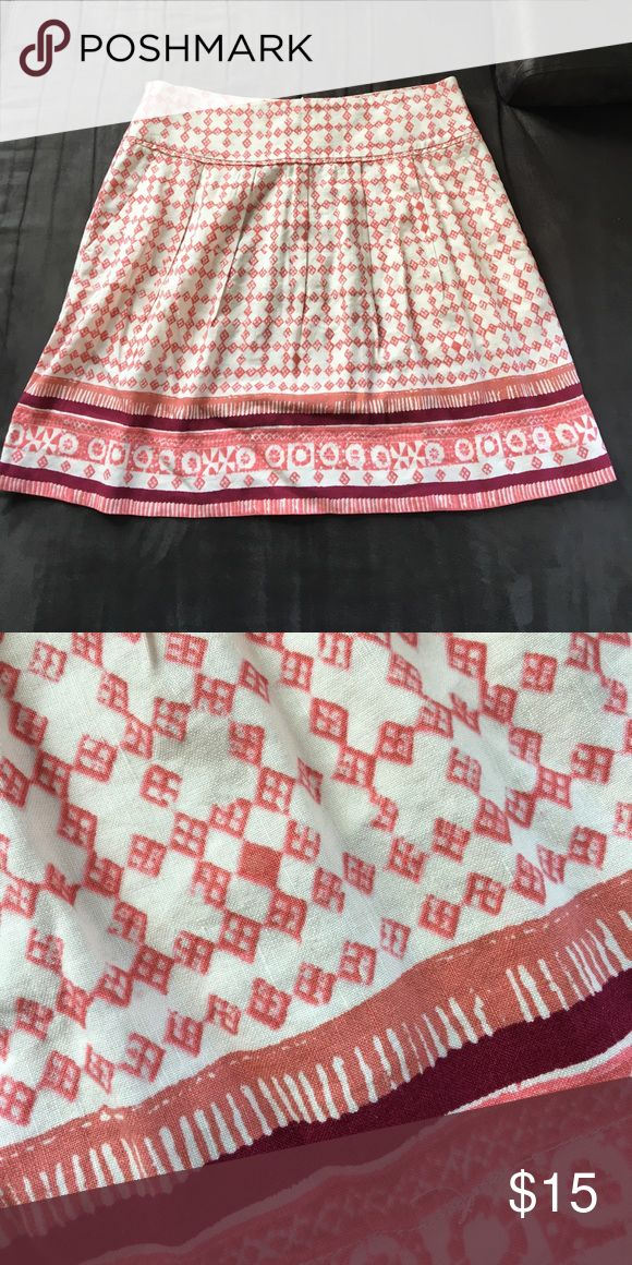 Printed skirt Stamp printed skirt. Shades of plum, salmon, and cream    Perfect for summer! LOFT Skirts