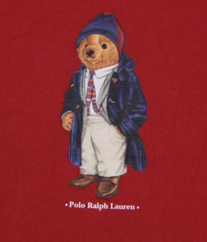 Vtg-Mens-POLO-SPORT-RALPH-LAUREN-T-Shirt-LARGE-Red-BEAR-Stadium-P-Wing-Raincoat