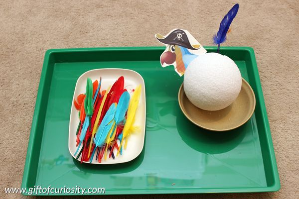 Pirate Montessori activities: Put the feathers on the parrot || Gift of Curiosity