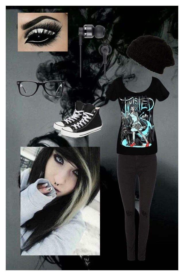 """Emo"" by dope1 ❤ liked on Polyvore featuring BlendShe, Converse, Nixon and Muse"