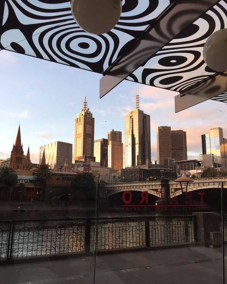 Photo taken by Andrea Crossan.. Our view from dinner last night over looking the Yarra..