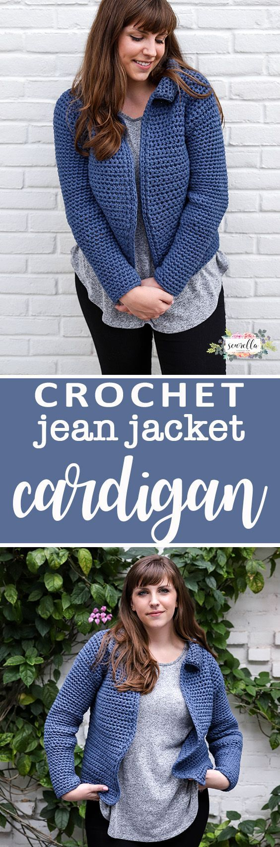 Crochet this simple Jean Jacket Cardigan with just single crochets - very beginner friendly free pattern!
