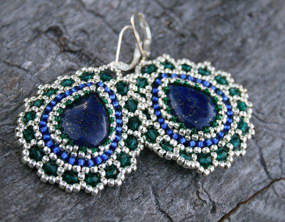 lapis lazuli earrings dangle earrings statement earrings