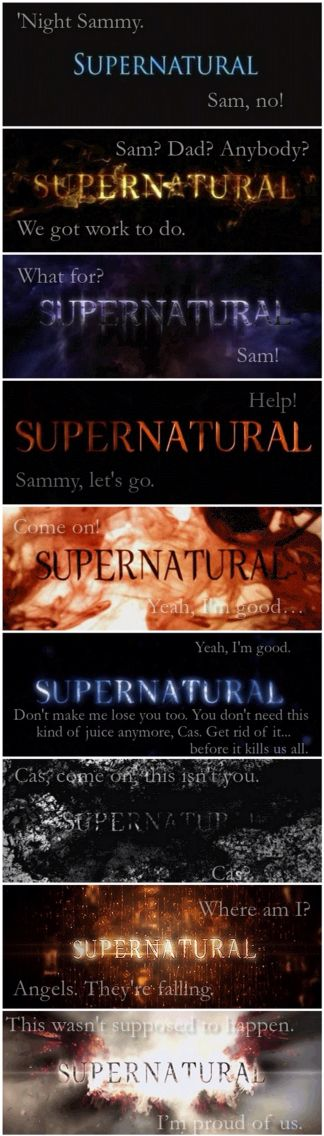 Dean's first and last line in every season