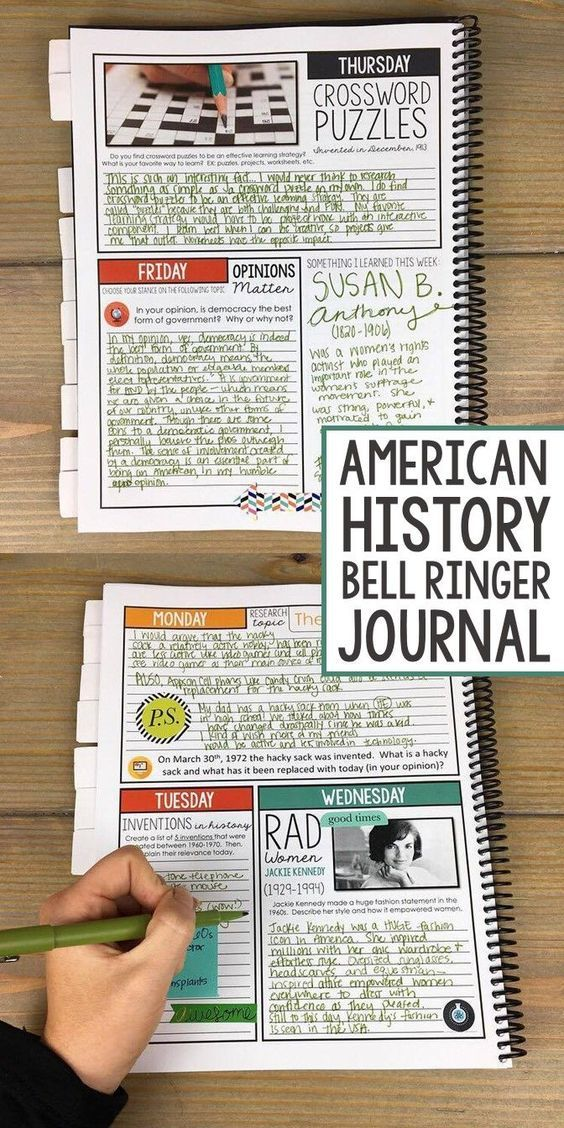 American History | US History | Middle School | High School | Bell Ringer Journal | 275 writing prompts for the entire school year | The SuperHERO Teacher