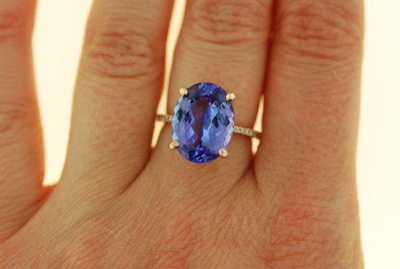 Tanzanite Ring. Rose Gold Engagement Ring GIA von EidelPrecious