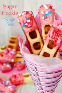 Sugar Cookie Waffle Sticks are so fun for the kids. You can adapt these to a birthday or any holiday!