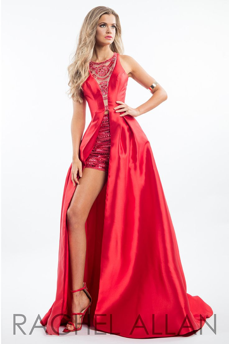 Rachel Allan 7556 Red High Neck Prom Dress
