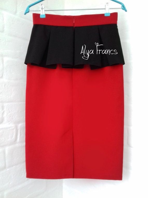 pleated skirt. skirts for the office. red black skirt. pencil skirt. skirt with peplum. classic skirt. fashion skirts, winter - summer 2017.  Condition: New - handmade Colour: red/black Brand: Alya Francs   • Size guide: The item should fit to a girl/woman with approximate measures around: UK6 / US4 / EU34 / XS - Bust - 78-82cm, Waist - 58-62cm, Hips - 84-88cm UK8 / US6 / EU36 / S - Bust - 82-86cm, Waist - 62-66cm, Hips - 88-92cm UK10 / US8 / ...