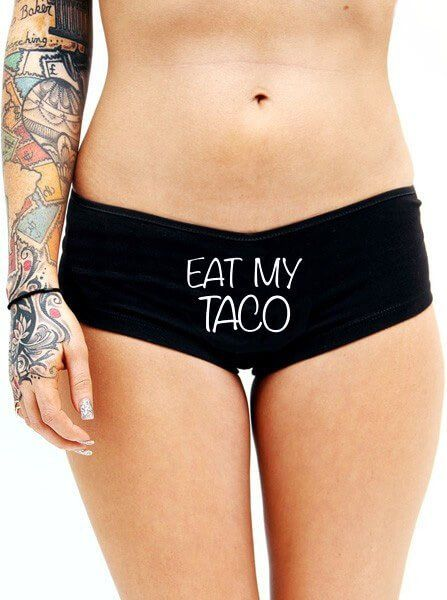 """Women's """"Eat My Taco"""" Booty Shorts by Cartel Ink (Black) 