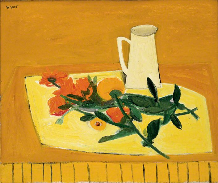 William Scott, Flowers and a Jug, 1947 or 1948, Oil on canvas, 51 × 61.4 cm / 20 × 24¼ in, Birmingham Museum and Art Gallery