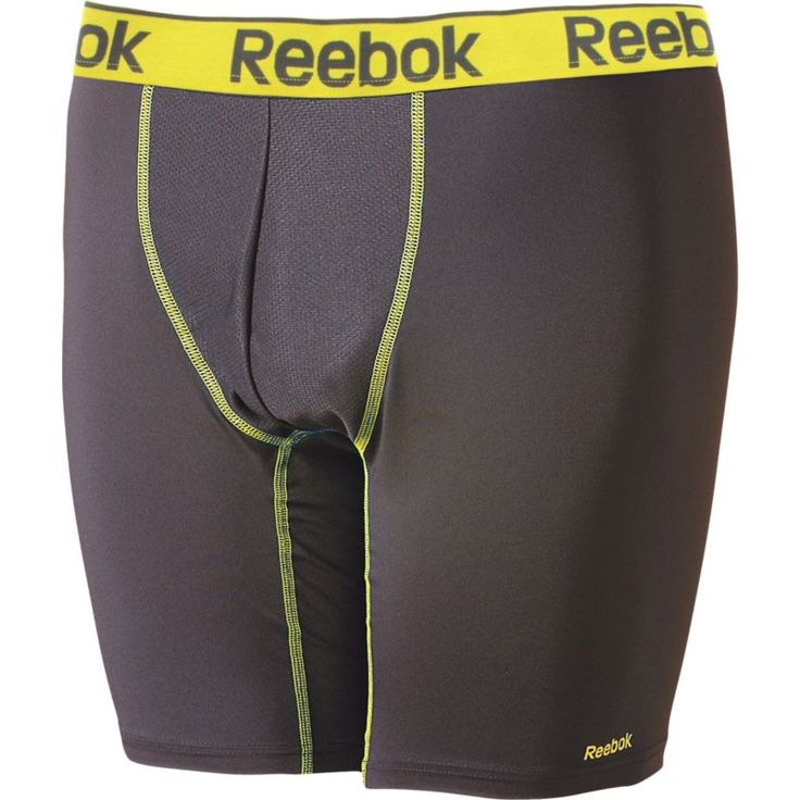 Reebok Men's Performance 6'' Boxer Briefs, Size: Small, Grey/Yellow