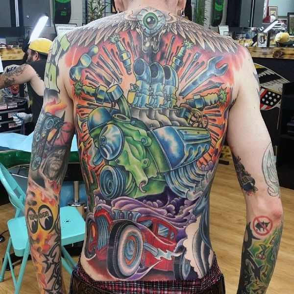 Guys Full Back Astonishing Hot Rod Tattoo